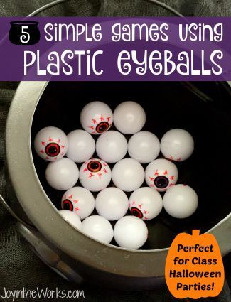 5 simple games using plastic eyeballs for Halloween class party:
