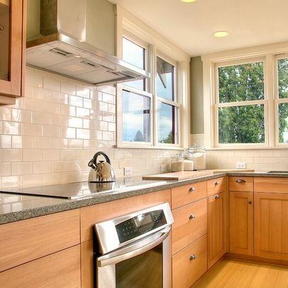 subway tile maple cabinets | White Subway Tile Backsplash ... on Backsplash For Maple Cabinets  id=90246
