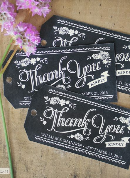 Free printable chalkboard style thank you gift tags which you can personalise and give to guests when they leave the wedding, saves having to send out thank you cards.:
