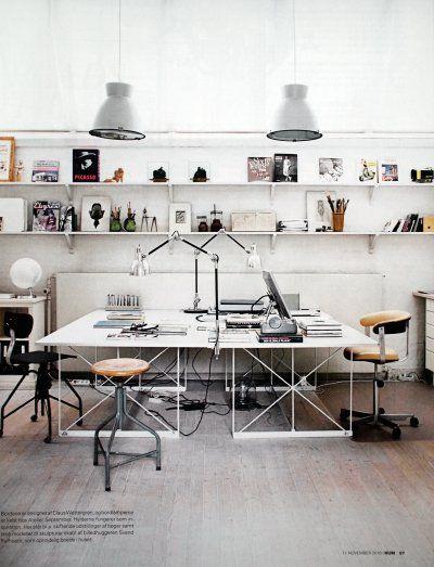Werkplek inspiratie   Heldere, lichte maar toch stoere, industriële werkplek