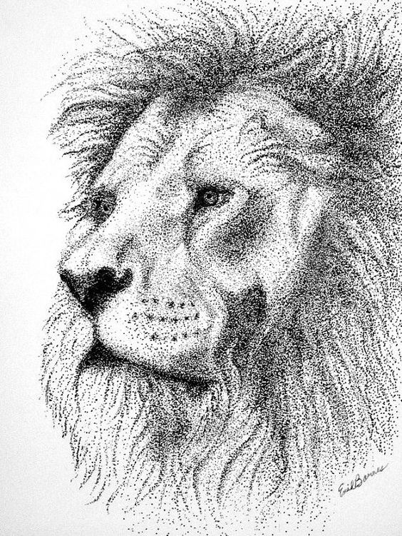 original lion pointillism pen and ink drawing a lion on wall street journal login id=97198