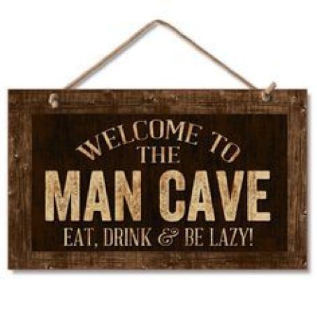 "Highland Home 9"" X 6"" Wooden Hanging Wall Sign Featuring the words: Welcome To The Man Cave Eat, Drink & Be Lazy!:"