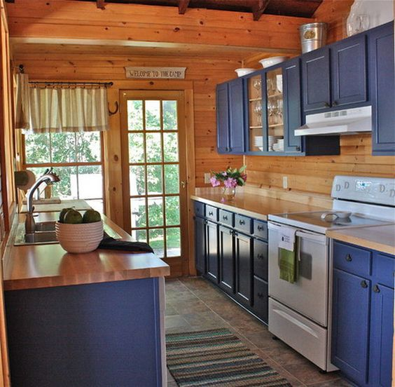blue cottage kitchen cabinets painting ideas lake house on lake cottage interior paint colors id=44134