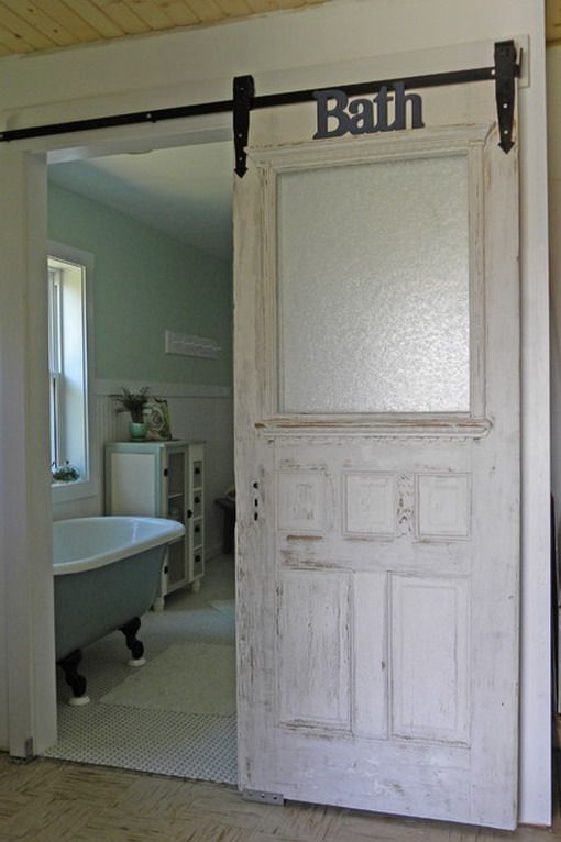 Classic Wood Sliding Door in Farmhouse Bathroom Regular door used for the…: