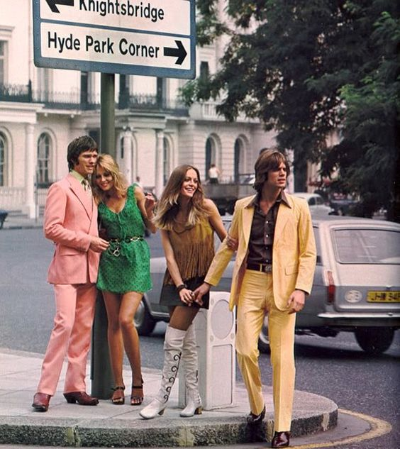 Fashion shoot in 1960s London.: