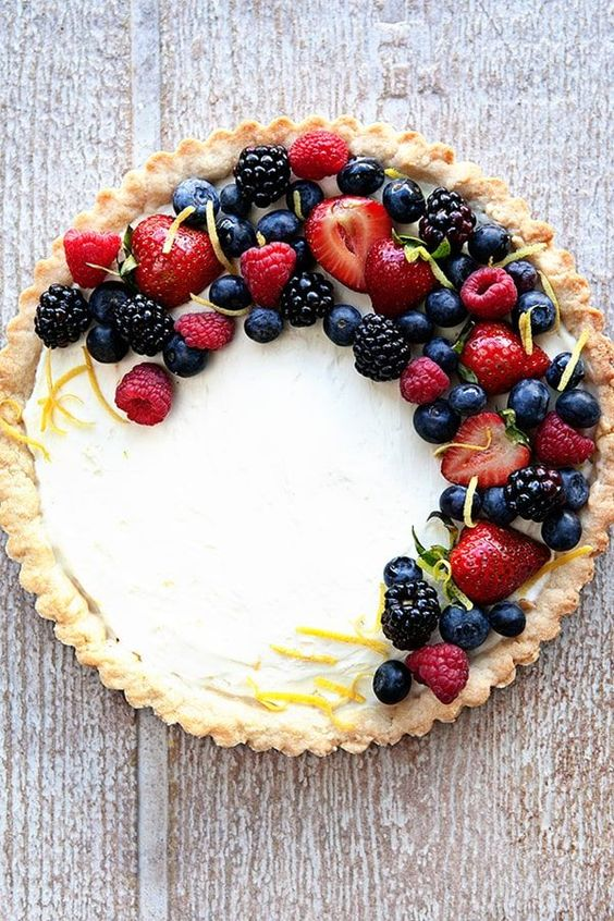 "Fresh Lemon Berry Mascarpone Tart Dessert Recipe | My Baking Addiction - ""A Fresh Berry Mascarpone Tart is a simple, delicious way to show off all the season""s best berries. The perfect dessert for summer!"""