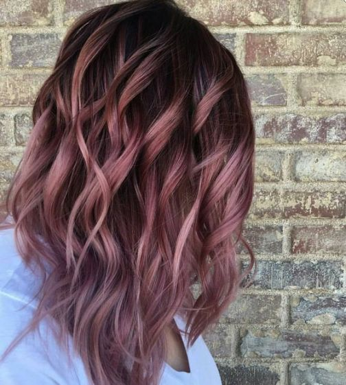 Dusty dark colors are cute with rose gold hairstyles!