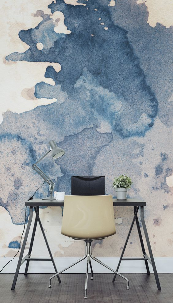 Major desk envy with this watercolour wall mural. Perfect for a creative studio or office space looking for a completely unique accent wall.: