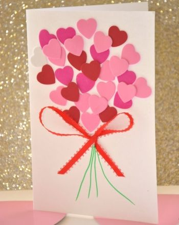 DIY Valentine Heart Bouquet. Cute & easy for the kids to make for grandparents.: