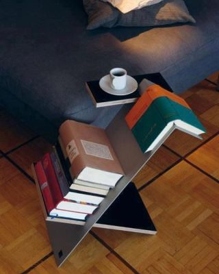a mini table that can store books and can act as a bookmark as well: