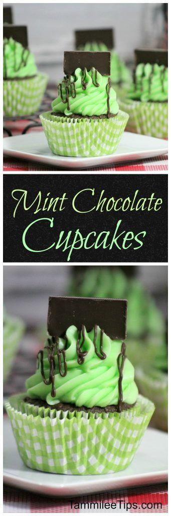 Delicious Andes Mint Chocolate Cupcakes recipe via Tammilee Tips! super easy dessert recipe the entire family will love! Perfect for St. Patrick's day or any day of the year!