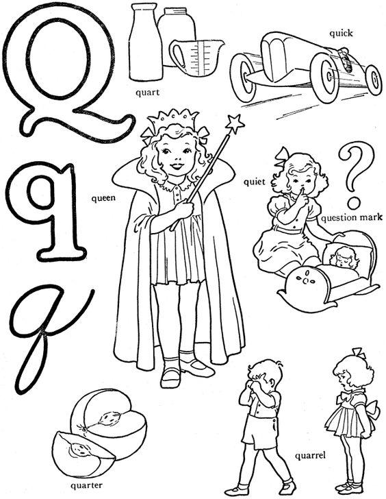 alphabet words coloring activity sheet  letter q  quart