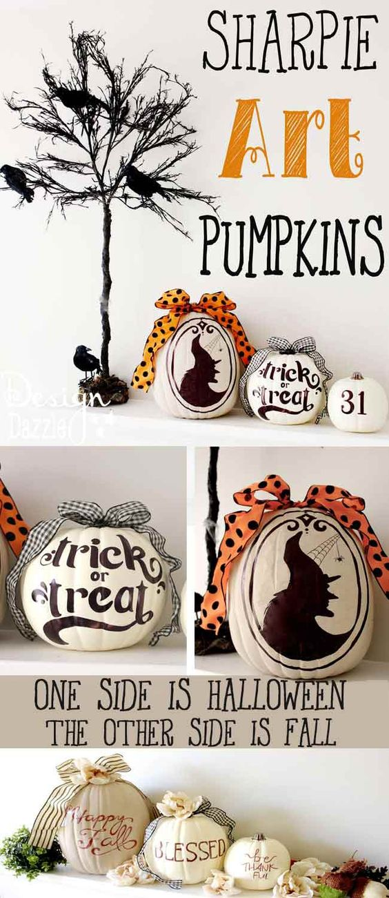 These are super fun to make! The most AWESOME idea about these pumpkins is they are TWO-SIDED! One side is for Halloween and one side is for Fall!!: