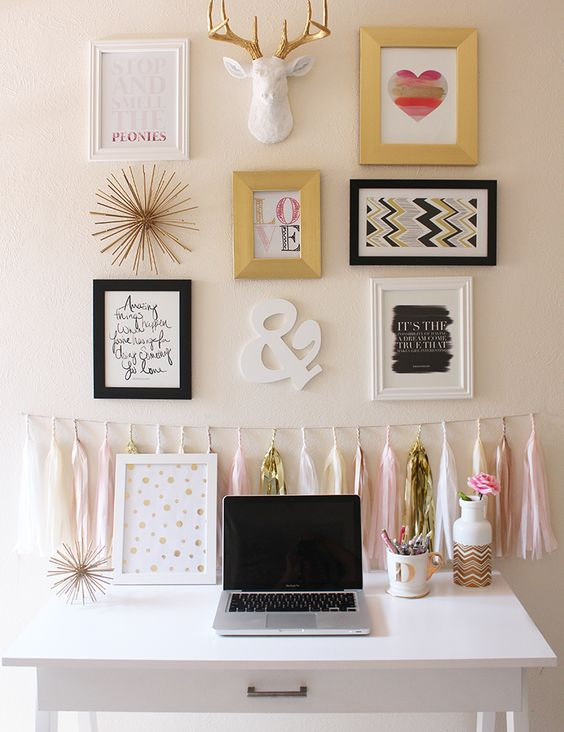 Pink and Gold Office and Gallery Wall Inspiration: