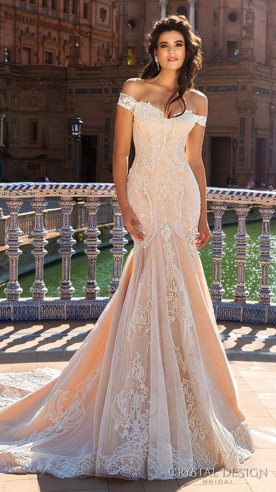Crystal Design 2017 bridal off the shoulder semi sweetheart neckline full embelllishment elegant ivory color lace fit flare wedding dress chapel train (alexa) mv #wedding #bridal #weddingdress: