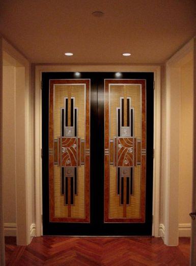 Nice faux bois & metal art deco doors: