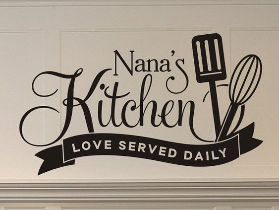 nanas kitchen love served daily wall decal with spatula on wall stickers for kitchen id=31566