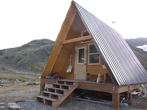 a frame cabin: