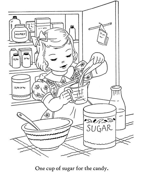 winter season coloring page  baking cookies  coloring