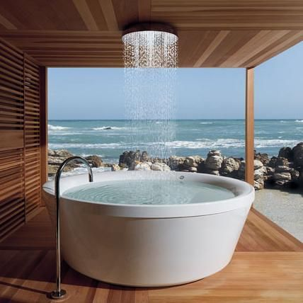 the perfect place for an outdoor bathroom:
