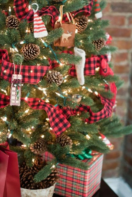 "Tartan Trimmed Christmas Tree - would be cute for one of the ""mini"" trees.:"