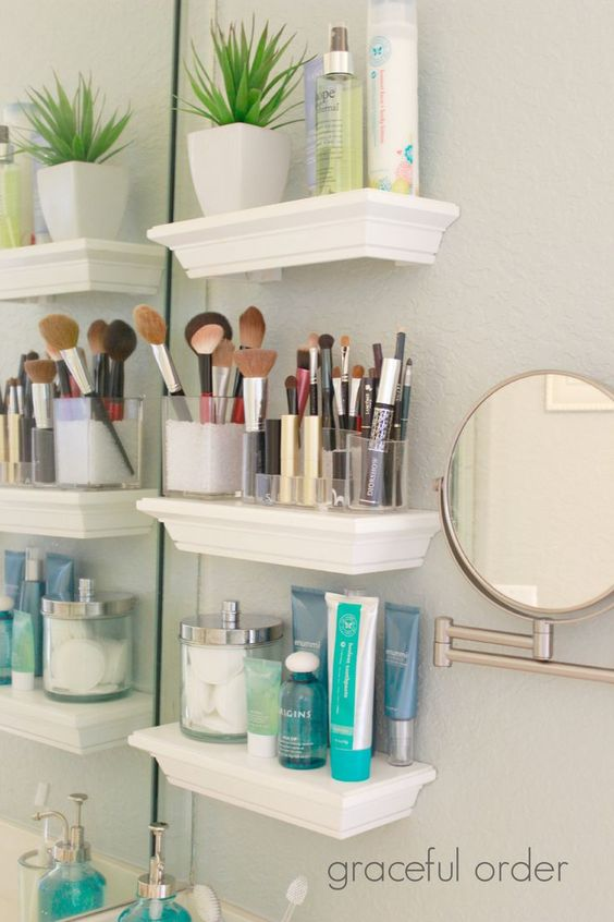 Use floating shelves in a small bathroom for additional storage.