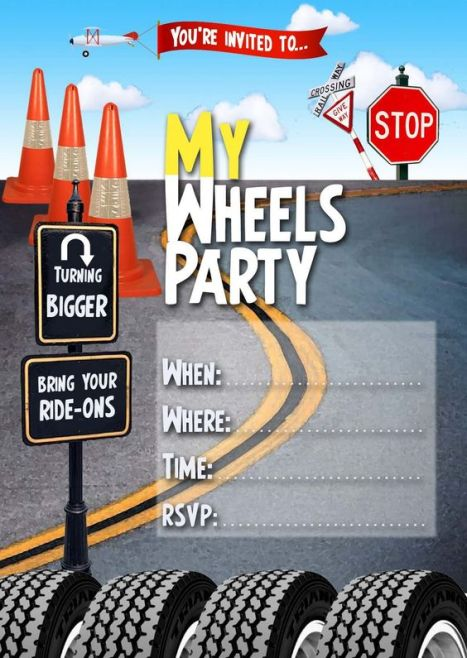 FREE Kids Party Invitations: Wheels Invitation: