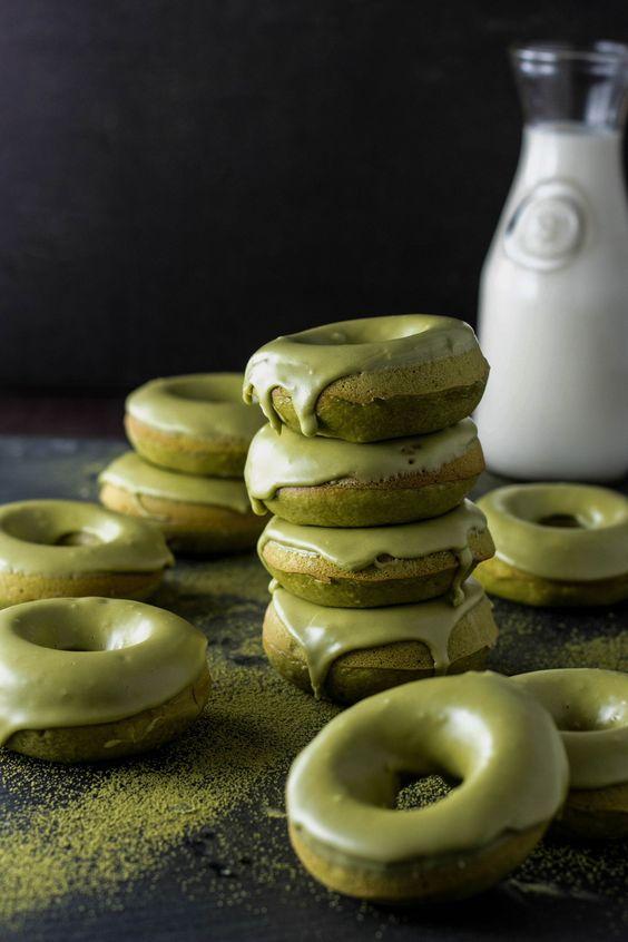 Baked Matcha Green Tea Doughnuts:
