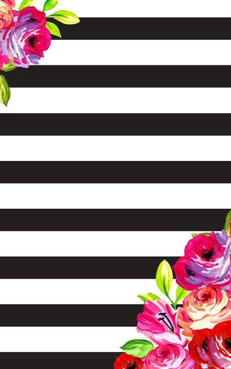February Floral And Stripes Phone Desktop Background