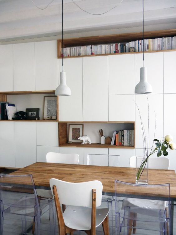 Mur Rangements Blanc Bois Scandinave My Home