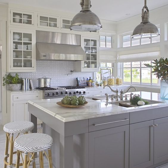 grey and white kitchen by urban grace interiors via instagram home kitchens pinterest on kitchen ideas white and grey id=54859