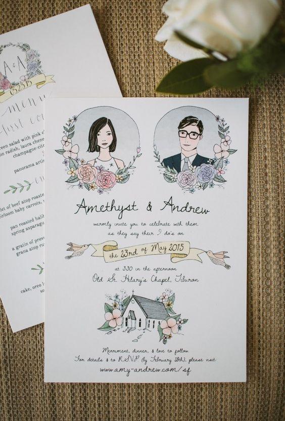 การ์ดเชิญงานแต่งงาน น่ารัก ๆ วาดด้วยมือ Hand-Illustrated Wedding Invites