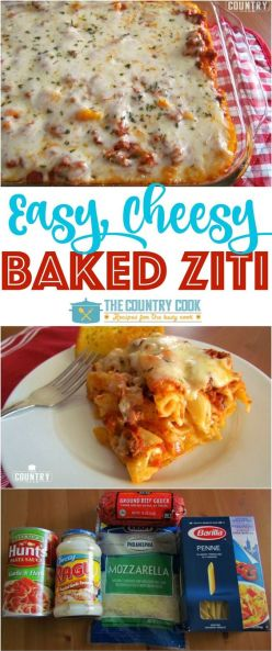 Easy Baked Ziti recipe from The Country Cook: