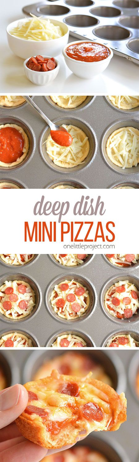 Deep Dish Mini Pizzas Recipe via One Little Project - These deep dish mini pizzas are so easy to make and they TASTE AMAZING!! They make a great lunch, dinner or you could even serve them as an appetizer!