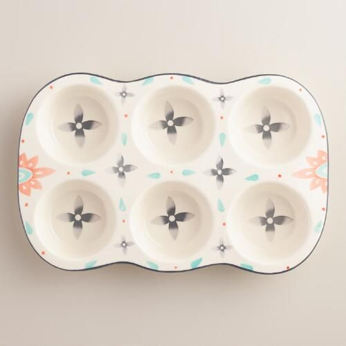 One of my favorite discoveries at WorldMarket.com: Joyye Hand Painted Ceramic Muffin Pan: