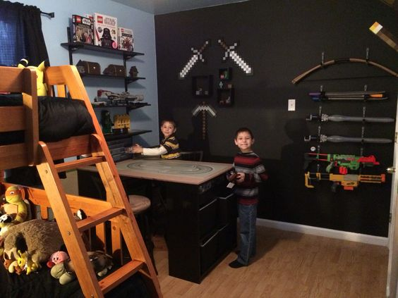 Minecraft Bedroom Lego Desk And Sword Rack For The Home