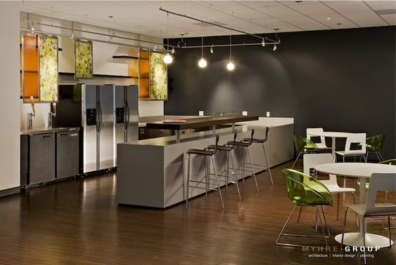 multi purpose break room with dark gray accent wall on commercial office colors for walls id=69538