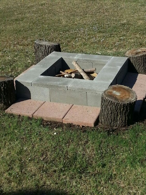 Easy, movable DIY fire pit! 8 cinder blocks-$1.45 ea, 8 ... on Cinder Block Fireplace Diy id=99308