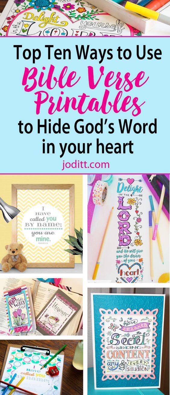 Bible Verse Printables - top ten ways to use them: