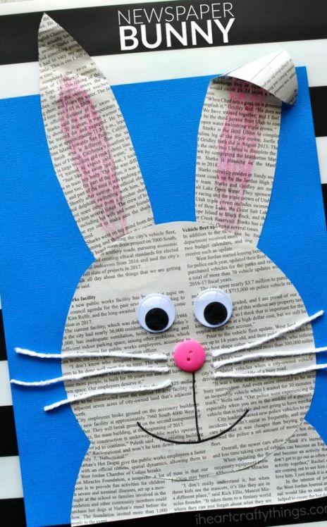 Newspaper Bunny Easter Crafts for Kids