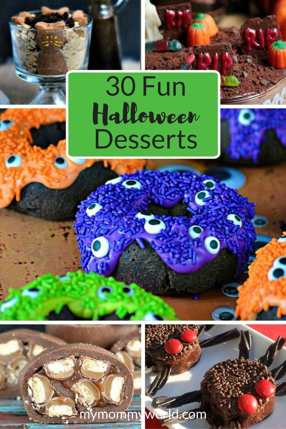You'll be sure to find some easy recipe ideas for parties with this list of 30 fun Halloween desserts. Celebrate the holiday with both scary and cute Halloween desserts that your kids will love!: