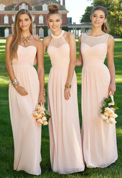 2016 Cheap Long Chiffon Country Bridesmaid Dresses Pink Lace Convertible Style Junior Bridesmaid Mixed Style Beach Wedding Party Dresses: