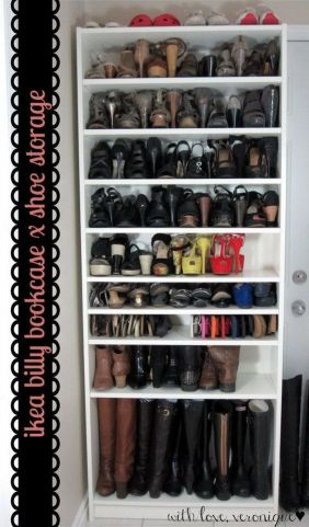 Ga de hoogte in, om meer schoenen kwijt te kunnen. Bijvoorbeeld in een Billy boekenkast