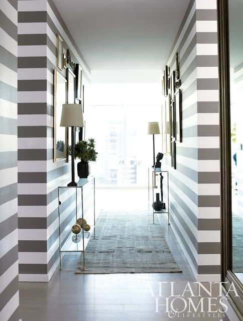 "Do I see skinny #horizontal stripes? And WHA in Atlanta at that? I THINK this was in The Residence at the W ""High Rise High Style"" Home tour. Yum:"