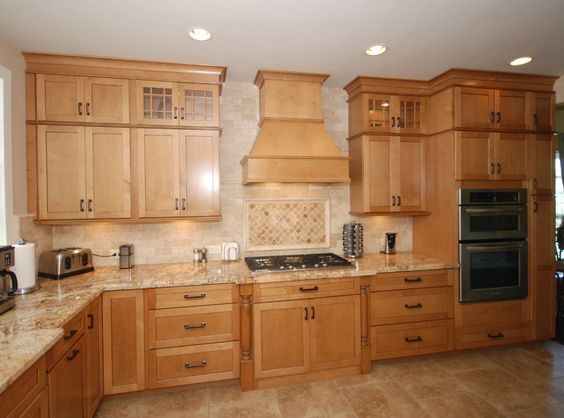 KraftMaid Ginger Glaze cabinets with granite countertops ... on Kitchen Countertops With Maple Cabinets  id=95836