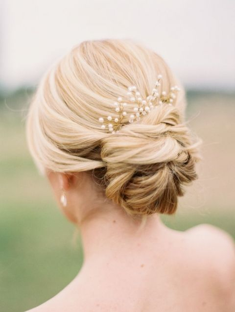 Elegant Bridal Updo with a Pearl Headpiece | Jessica Gold Photography | Natural Gold - An End of Summer Wedding: