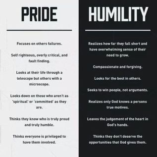 Pride vs. Humility- something to look at and think about during Lent: