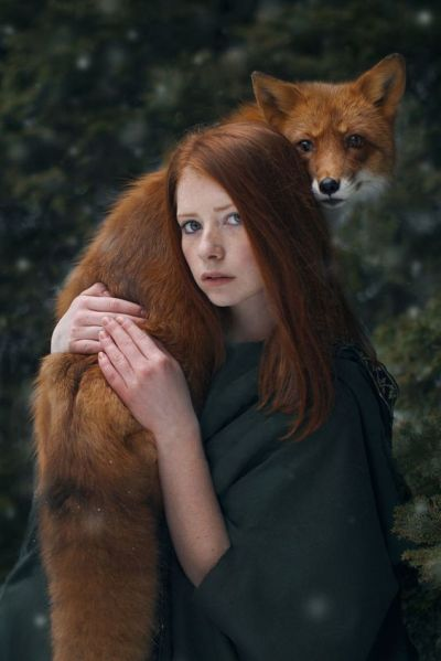 Photography Artwork Portraits Photoshop Redhead Nature Scene Green Hood