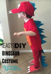 Tutorial on how to make an easy and adorable dinosaur costume for kids.: