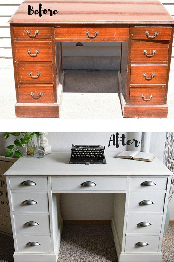 White Desk Makeover | Timeless Creations, LLC: